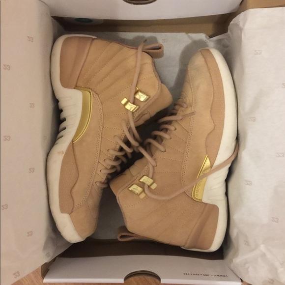 "5b388e7b81c36c Jordan Shoes - Jordan Retro 12 ""Vanchett Tan Metallic Gold Sail"""